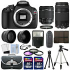 Canon EOS Rebel T5 1200D Camera Body + 4 Lens Kit 18-55 IS +75-300 + 24GB