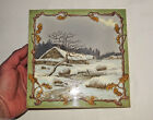 Antique French Art Nouveau Pottery Tile signed Longwy ceramica late 19th Century