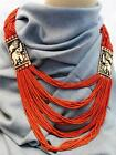 F670 Huge Tibetan Gypsy Necklase on Pote with Bone Plate Hand Crafted in Nepal