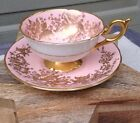 Coalport Fine Bone China Pink With Gold Flowers Tea Cup & Saucer Hand Numbered