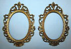 PAIR Ornate Oval Gold Tone Vintage Metal Picture Frames ITALY
