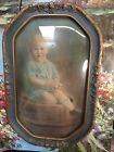 Antq Convex Bubble Oval Gesso Roses Picture Frame Baby Portrait BIG Hand Colored