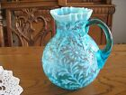 FENTON BLUE OPALESCENT DAISY & FERN  PITCHER - Excellent Condition!