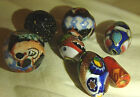 7 Hand Painted Marble Beads Silver Cloisonne & Murano Beads Italy Art Nouveau