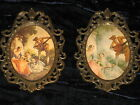 .PAIR of ANTIQUE ORNATE METAL VICTORIAN  WALL HANGING OVAL  PICTURE FRAME-ITALY