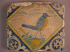 Antique polychrome Dutch Bird Tile very rare 16th century -- free shipping