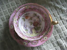 Saji Gilded Tea Cup and Saucer Gold Encrusted Teacup EARLY 1900's lotus flower