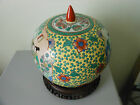 Chinese Ceramic & Porcelain Antique Famille Rose Ginger Jar with Wooden Stand