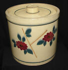 Antique Salt Glaze Stoneware Crock/Pickling Jar Gorgeous Red Green Flower Design