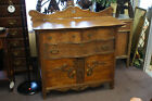 Antique Tiger Oak Dresser Ox Bow Front Chest of Drawers Original Pulls Lock