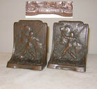 BOOKENDS GALVANO BRONZE CLAD AMERICAN INDIAN WITH HORSE RARE PAIR NEAR MINT