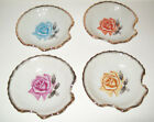 Vintage Shell Shaped Dishes Various  Rose Designs Japan - Set of Four