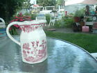 VINTAGE RED AND WHITE PAGODA GARDEN TOILE MILK PITCHER FROM JAPAN