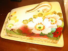 ANTIQUE NIPPON COVERED CHEESE DISH -Hand Painted w/Gold Gilding -Green Leaf Mark