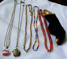 Lot of 6 Glass Crystal Metal Enamel Bead Cameo Locket Sterling Toggle necklaces