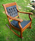 Antique Oak Rocking Chair with Original Tufted Leather.