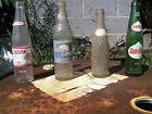Lot of Four (4) Vintage Glass Soda Bottles ACL Sundrop Pepsi Caravan Suncrest