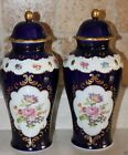 HAND-PAINTED VINTAGE COBALT PAIR OF URNS VASE ROSE GERMANY