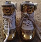 Michael KORS NIKKO HIGH TOP GOLD MK LOGO CANVAS WEDGE SNEAKERS SHOES SIZE 8