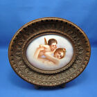 Antique Hand Painted Love's Dream Tile Set in Wood Gesso Frame, C-1880-1890
