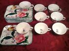 Vintage Italy Majolica EIGHT Lunch/Breakfast Sets Rose and Tulip