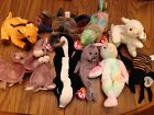 TY Beanie Babies LOT OF 10 With Swing Tags Giraffe Rabbit Lizard Skunk Seal Crab