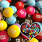 10pcs M&M Bead Plastic Charms for Rainbow Loom Band Kid DIY Bracelet with Clip
