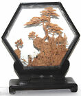 Vintage Intricate China Cork Carving Behind Glass Black Lacquered Wood Frame