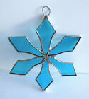 Lot of 10 Handmade Stained Glass Flat SNOWFLAKE  SKY BLUE Ornaments