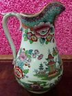 #957 ANTIQUE COLLECTIBLE FLORAL PAINTED PORCELAIN UNIQUE GEISHA VASE RED ROSES