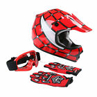 DOT Youth Kids Red Spider Net Motocross Off Road Helmet Goggles+Gloves S M L XL