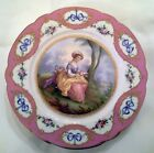 SEVRES Hand Painted Signed PORCELAIN PLATE Early 19th C PINK & MULTICOLOR