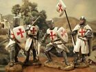 Set of 4 Hand Painted Medieval Crusaders Knight Figure 10cm Realistic Gift