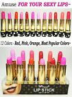 Amuse Red Pink Orange Lipstick Sets 12 Colors of Most Popular Shades