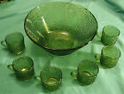 Emerald Green Soreno Anchor Hocking Punch Bowl Set with Six Cups