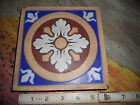 Antique Minton & Co Tile 1828-1840 Early Thick Cobalt Blue Red White