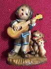 VINTAGE ANRI Italy Hand Carved Wood GIRL SINGING & PLAYing GUITAR Dog Cat 3