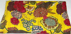 Queen Size Indian Yellow Tropical Kantha Quilt Reversible Bedcover Bedding Throw