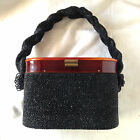 VINTAGE Black BEADED BARREL Purse HANDBAG With LUCITE Lid c.1940's