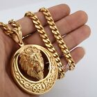 Lion Carved Celtic Knot Men Gold Tone 316L Stainless Steel Pendant Necklace 22''