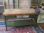 ANTIQUE INDUSTRIAL BUTCHER BLOCK IRON BASE WORKBENCH KITCHEN ISLAND POLLARD BROS