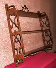 VINTAGE MAHOGANY 3 TIERED WALL SHELF CURIO WITH FRETWORK SIDES, TOP