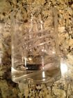 Crystal Set Four Mid Century Etched Swirl Double Old Fashion Glasses