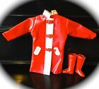 Vintage Skipper Barbie Doll Red Vinyl Raincoat with Heart Closures and Red Boots