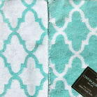 CYNTHIA ROWLEY AQUA WHITE QUATREFOIL 3pc TOWEL SET BATH HAND WASH CLOTH NEW