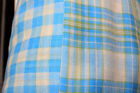 Apparel Fabric: 100% Cotton Double Sided Plaid Checked Gauze Yarn Dye Blue BTY