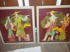 Antique  Oriental Wood Framed Wall Pictures Rare Set #702