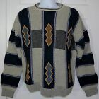 Vintage Turnbury Sweater Men Sz 40 Large Suede Panels Blue Grey Italy Bill Cosby