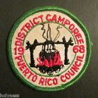 VINTAGE BSA / BOY SCOUT CAMP PATCH / DISTRICT CAMPOREE 1968 / PUERTO RICO