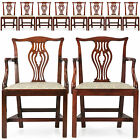 Fine Set of Ten English Chippendale Mahogany Antique Dining Chairs, 19th Century